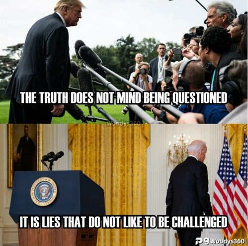 message trump truth doesnt mind being questioned biden lies dont like to be challenged
