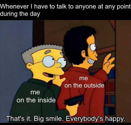 simpsons introvert face the wall outside big smile
