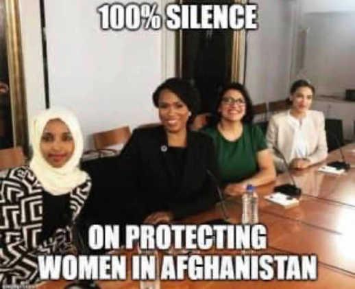 squad aoc omar 100 percent silence protecting women afghanistan