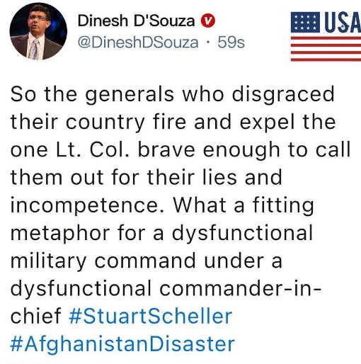 tweet dinesh afghanistan firing generals incompetence biden