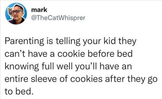 tweet mark parenting kid cant have cookie before bed eat entire sleeve