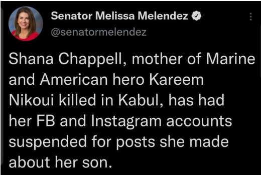 tweet melendez chappell facebook instagram account suspended