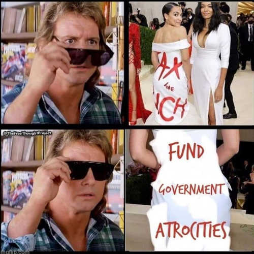 aoc tax rich dress fund government atrocities they live glasses