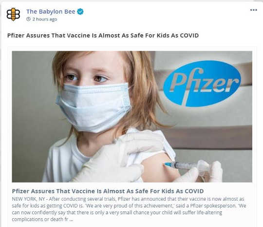 babylon bee pfizer vaccine almost safe for kids as getting covid