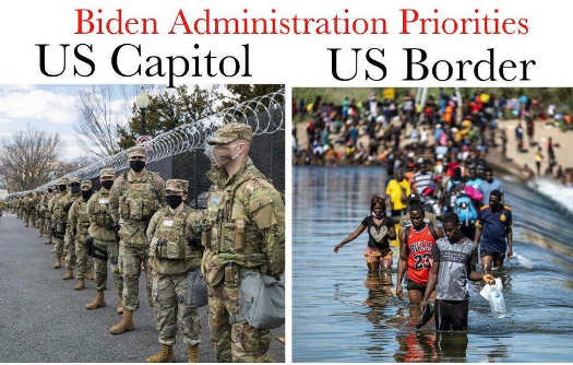 biden admin priorities soldiers us capitol free flow us border