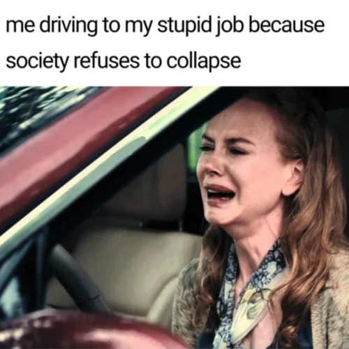 crying stupid job car society wont collapse