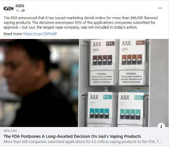 government fda bans vaping products but excludes juul