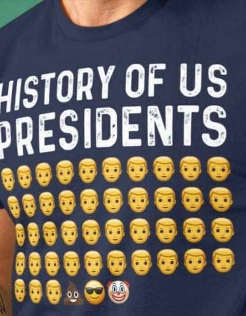 history of us presidents obama trump biden clown shit emojis tshirt