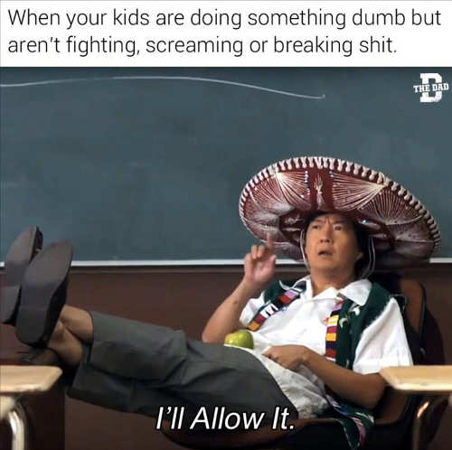 kids doing dumb shit but not screaming fighting breaking I'll allow it