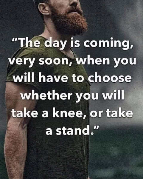 message day is coming take a knee take a stand
