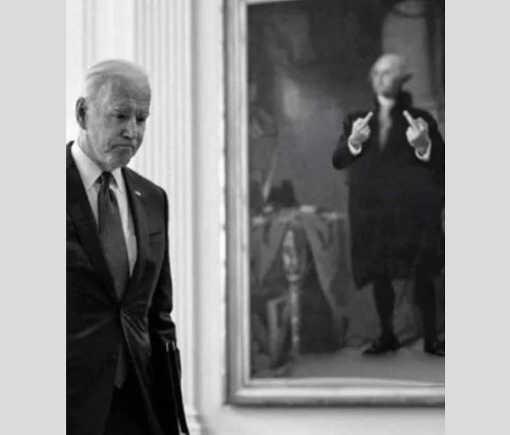 presidential portrait george washington flipping bird joe biden