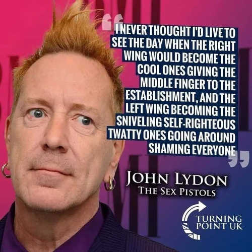 quote lydon sex pistols cool ones middle finger establishment now sniveling twatty ones shaming