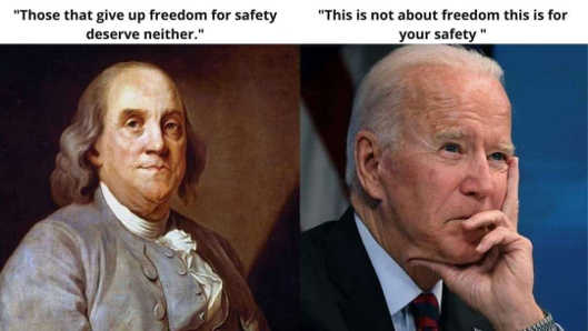 quotes ben franklin freedom safety joe biden give up freedom
