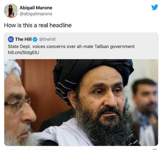 tweet abigail marone state department all male taliban government