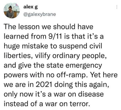 tweet alexg lesson war on terror vs disease