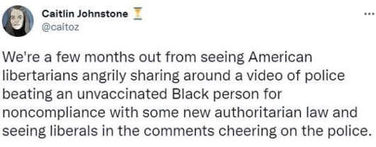 tweet america libertarians beating unvaccinated liberals cheering cops