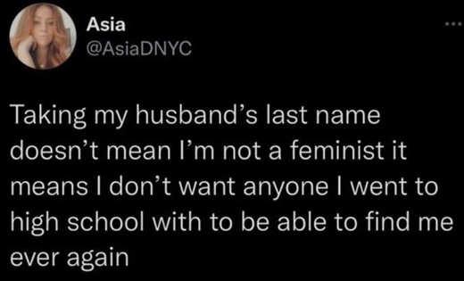 tweet asia took husbands name didn't want high school find again