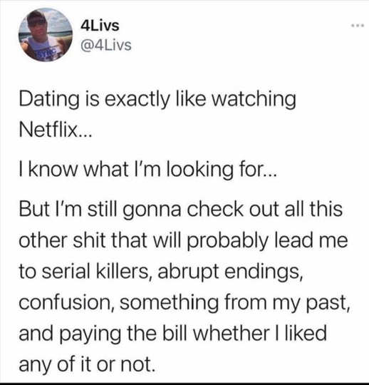 tweet dating like netflix serial killer pay for it