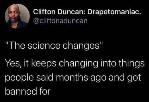 tweet drepto science keeps changing into what said months ago banned for