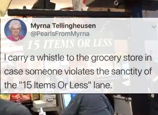 tweet grocery store whistle 15 items or less