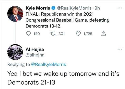 tweet morris republicans win congressional baseball game wake up tomorrow 21 13