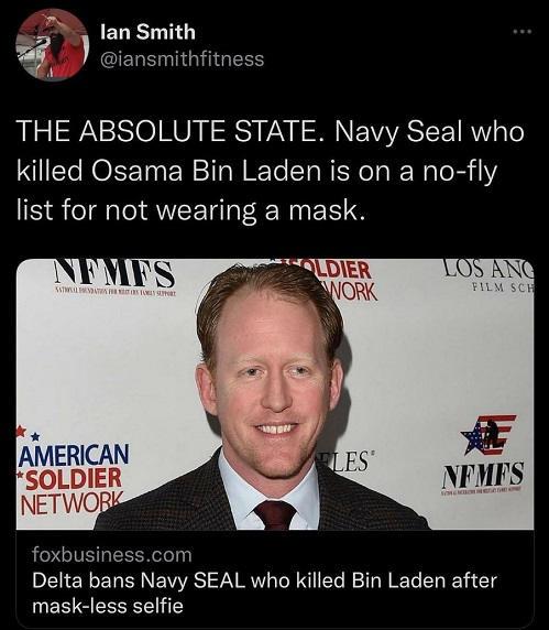 tweet navy seal killed bin laden no fly list delta removed mask for selfie