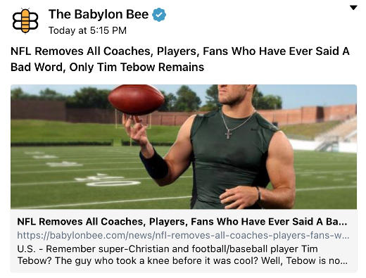 babylon bee nfl removes all fans players coaches ever said bad word only Tebow