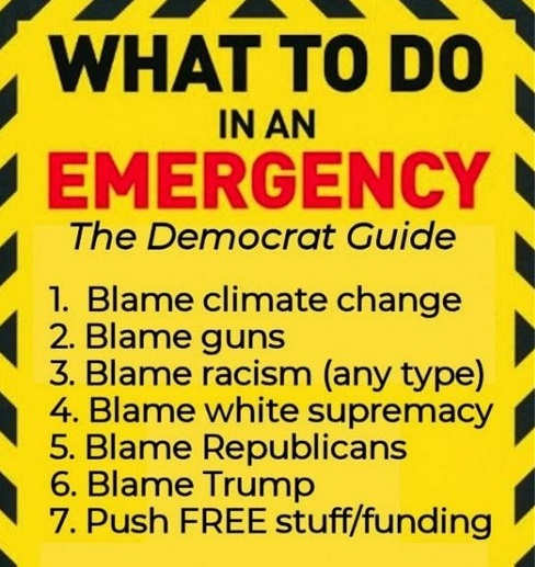 democrat emergency steps blame climate change guns racism white trump free stuff