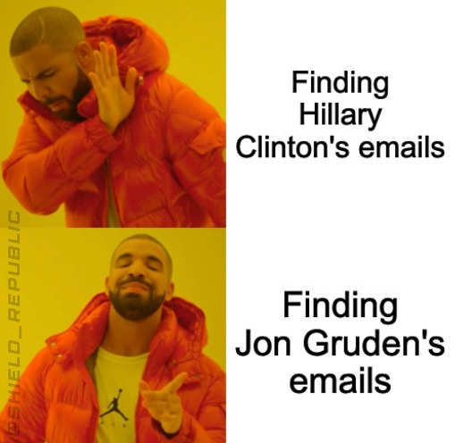 finding hillary emails no jon gruden emails yes