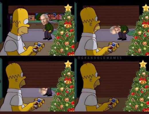 homer simpson celebrating christmas dr fauci garage