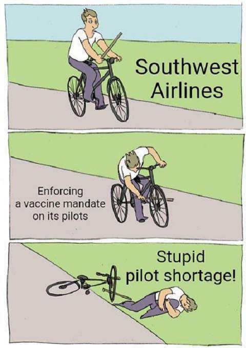 southwest airlines enforcing vaccine mandate pilots shortage bike spokes