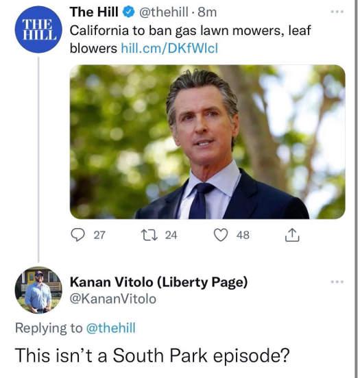 tweet california ban gas mowers vitolo