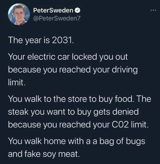 tweet sweden electric car locks you out co2 limit fake soy meat
