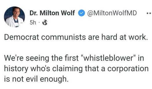 tweet wolf communists hard at work whistleblower claiming corporation not evil enough