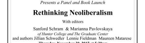 Rethinking Neoliberalism: Thursday, November 30, 2017 @ 5:30pm ft. Professor Jillian Schwedler