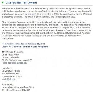Charles E  Merriam Award Recipients |