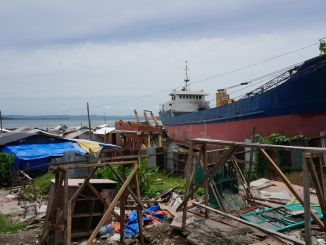 Disaster-struck area by the ocean