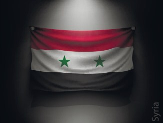 waving flag syria on a dark wall