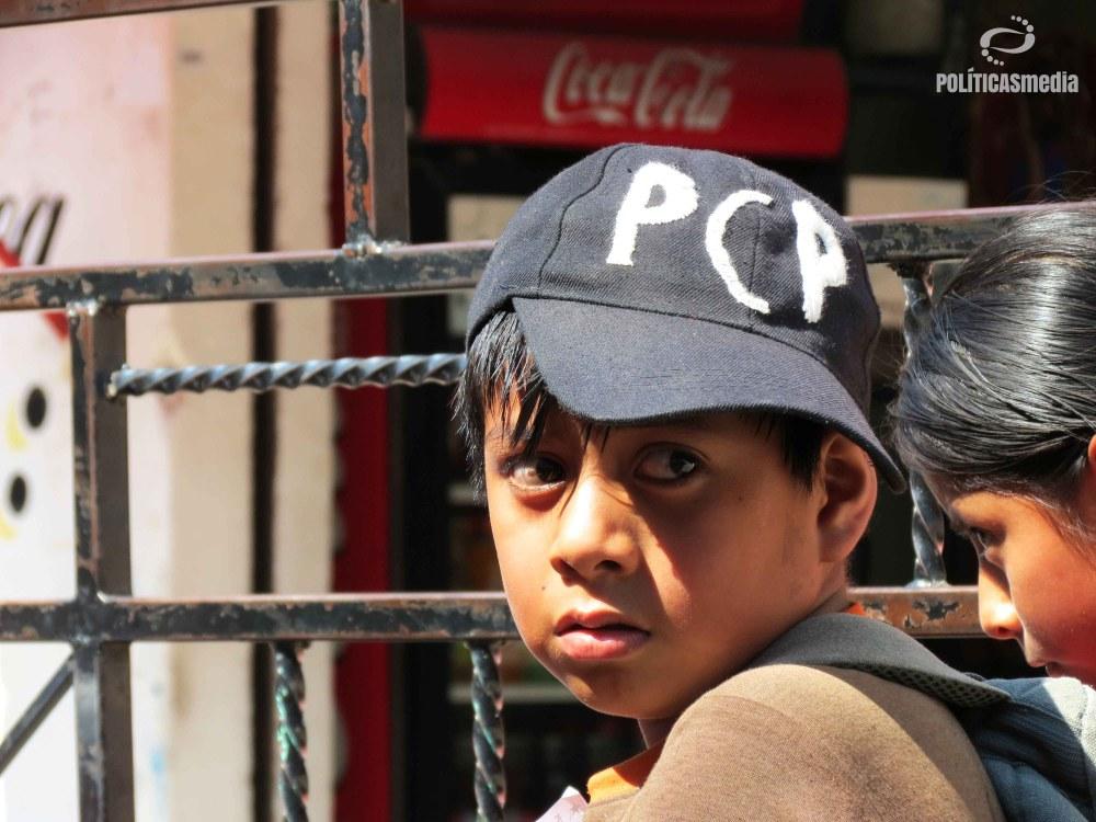 Niño en la marcha por el 3er Aniversario de la CRSJ-PCP.   Fotografías: El Bolche.
