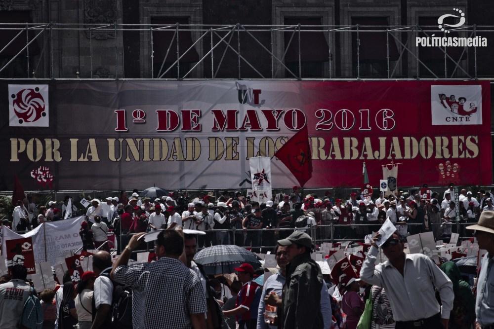 Movilización conmemorativa 1º de mayo, día del trabajo, Ciudad de México.   Fotografía: Mónica Olivares