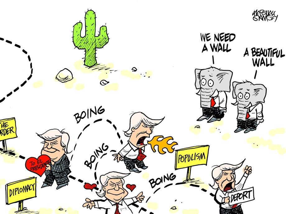 """Donald Trump ha exhibido una actitud oportunista, mentirosa e inconsistente como muy pocas veces desde el defenestrado presidente Richard m. Nixon (1968-1973). Cuando habla a sus seguidores de la """"alt-right"""", adopta una jerigonza racista. Pero cuando habla con """"latinos"""", dice que es su mejor amigo. Cuando vino a México durante la infame recepción que le dispensó Peña Nieto, habló de los mexicanos como dignos de respeto. Y a las pocas horas, en Arizona, volvió a las andadas de su discurso incendiario de obligar a México para que pague un muro fronterizo. Es un hombre inestable, imprudente, esclavo de sus impulsos y además, misógino y racista consumado. (Imagen de archivo)"""