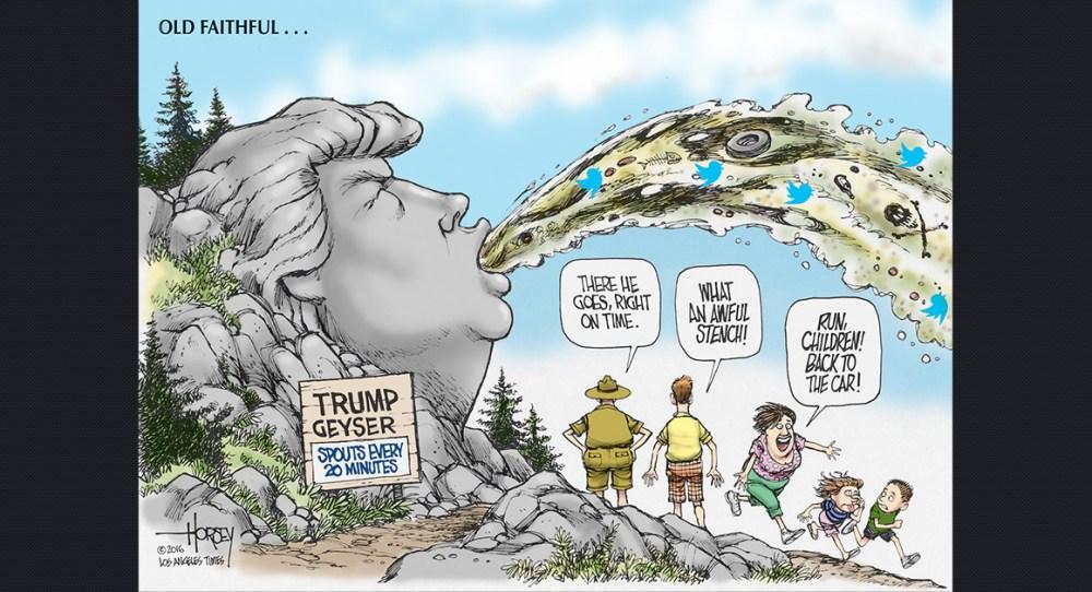 """La verborrea demagógica es una similitud notable entre Adolf Hitler y Donald Trump. Entre más simple, más descarada la exhibición de prejuicios racistas, más pegajoso es el mensaje en tiempos de crisis económica e identitaria. La caricatura dice: """"Géiser Trump: escupe cada 20 minutos"""" (Imagen de archivo)."""