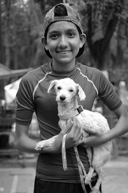Niño adoptando a perrito que perdió a sus dueños durante sismo. Fotografía: Chac Nahual