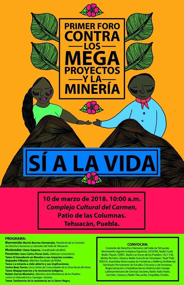 Cartel de la convocatoria al Primer Foro contra los Megaproyectos y la Minería