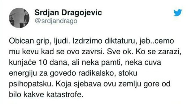 Dragojević: Vučić je govedo radikalsko, stoka psihopatska; Jovanov: Tobom će se baviti služba u komunalnom preduzeću, zadužena za fekalni otpad