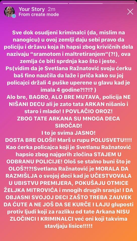 Jelena Karleuša brani policiju od Svetlane Ražnatović: Alo bre, BAGRO MUTAVA, policija NE NIŠANI DECU