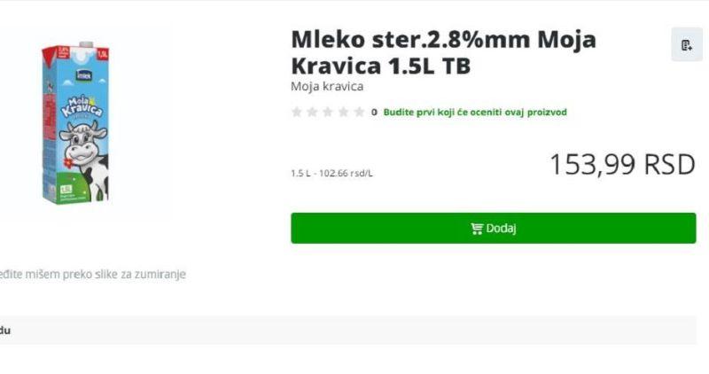 Dva litra mleka u Britaniji 142 dinara, u Srbiji litar ipo 154!