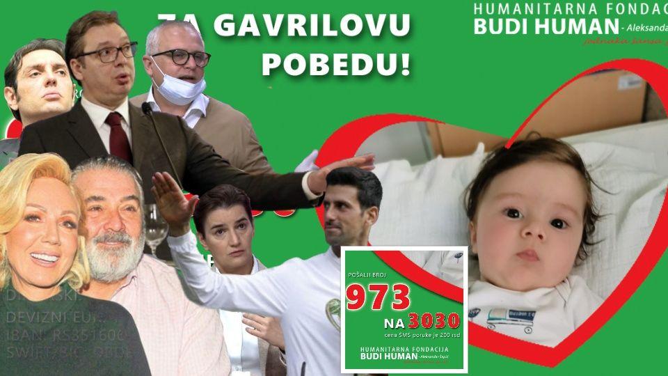 Potrebno do sutra još 500.000 evra za malog Gavrila, a Vučić čašćava Đokoviće i Breninog muža sa skoro MILION evra