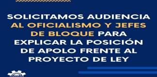 Fundación Apolo hizo una solicitud de audiencia al Frente de Todos