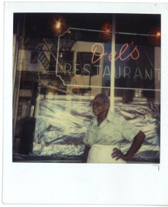 Adel Chandler in front of Del's Restaurant Photo by Dr. Jessie Fields